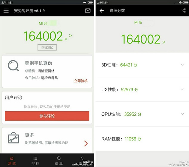 Xiaomi Mi 5S Appears To Have Racked Up An 164.002 Score AnTuTu